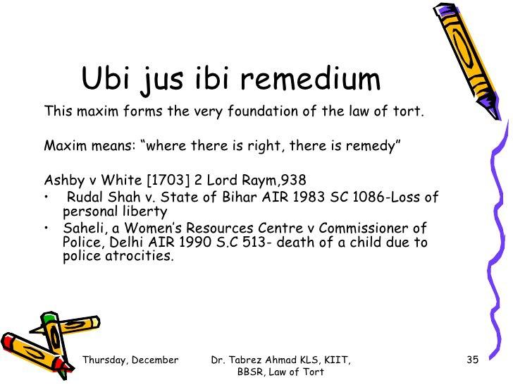 ubi jus ibi remedium How do you say ubi jus ibi remedium in english 1 meaning found for ubi jus ibi remedium.