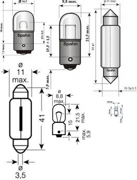Лампа накаливания, фонарь освещения номерного знака; Лампа накаливания, задний гарабитный огонь для AUDI V8 (44_, 4C_)