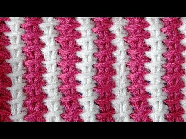 Tunisian crochet pattern Двухцветный тунисский узор вязания 1