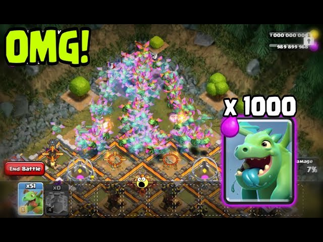 OMG X1000 BABY DRAGON vs BASE ATTACKS | COC Private Server | Clash Of Clans Hack / Glitch New Update