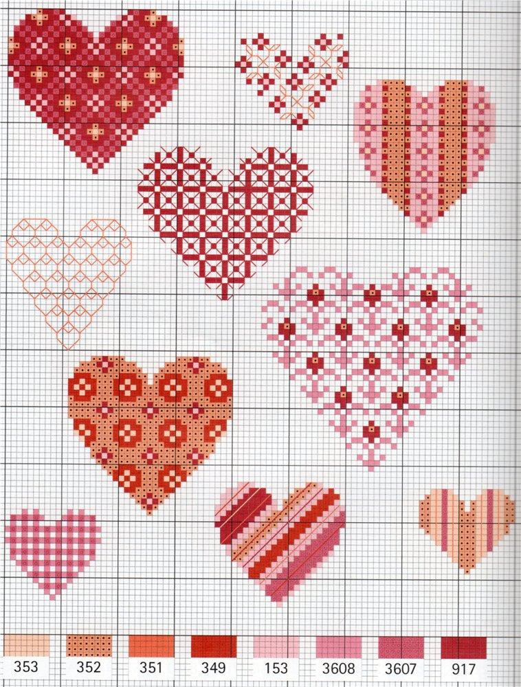 вышивка сердечек крестиком схемы