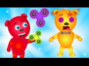 Giant Gummy bear fun with Fidget spinner finger family nursery rhymes for children Gummybear toys