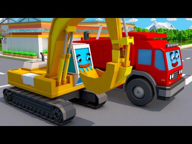 Mała Koparka, Wywrotka, Buldozer | Samochody i pojazdy - auta bajka dla dzieci o maszynach