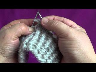 Как связать носки на 2х спицах часть 2 - узор ГУСИННЫЕ ЛАПКИ