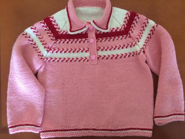 Розовый свитер Начало Расчет реглана и вязание цельновязанного воротничка