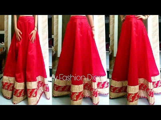How to make kalidar { Anarkali } lahnga with BORDER / LACES   FULL TUTORIAL   DIY