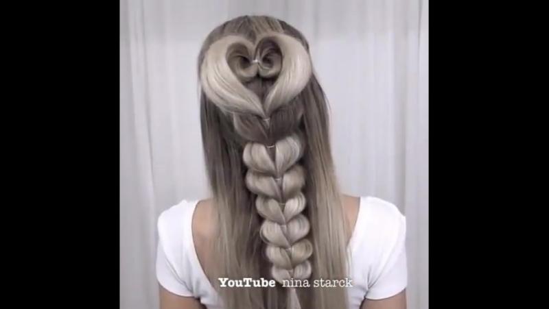 Коса на резинках сердце из волос