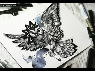 How to draw an owl | Arina Voropayeva | AVart