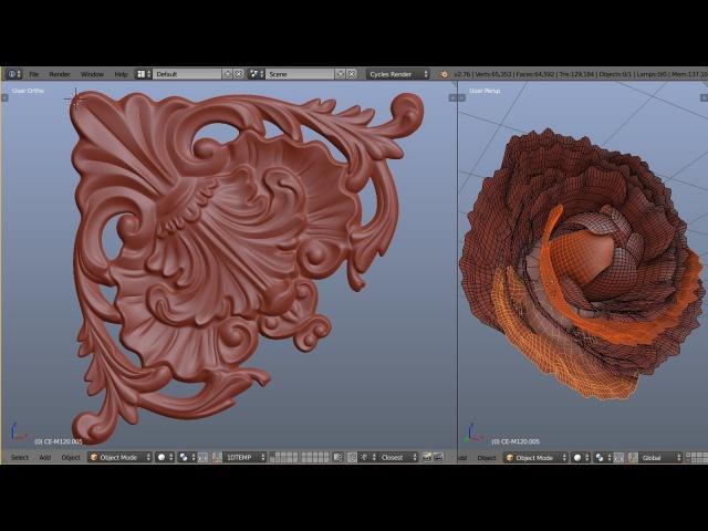 1D Blender Baroque - Corner decor element modeling timelapse