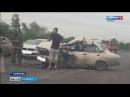 Появилось видео последствий жёсткой аварии на Притомском в Кемерове