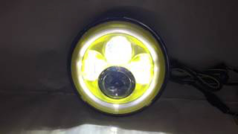 Round 7inch 40w Yellow bezel led headlight with Yellow halo ring for Jeep Harley