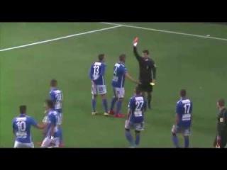 Most stupid red card ever! Swedish Defender Sent Off For Idiotic Celebration After Scoring Hat-Trick