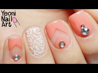 [V프렌치&장미 네일아트] White Roses&French Nail Art / Born Pretty Store Rhinestone&French Tip Guides Review