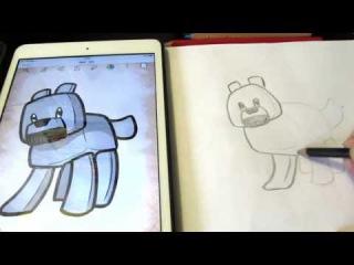 Как нарисовать Лего Майнкрафт волка для детей / Рисуем волка Chibi Minecraft