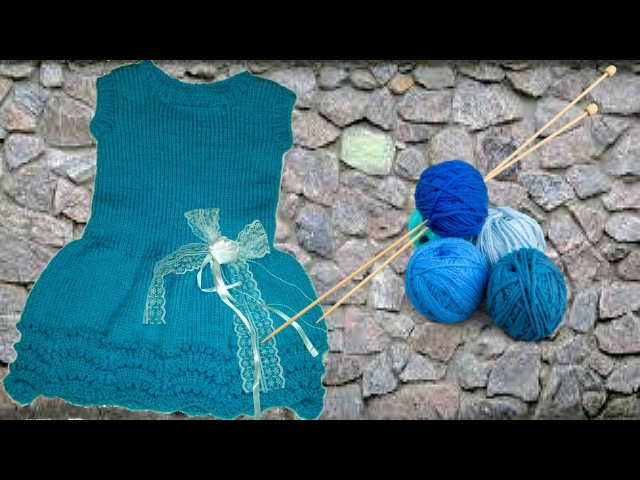 Платье-сарафан вязаное спицами