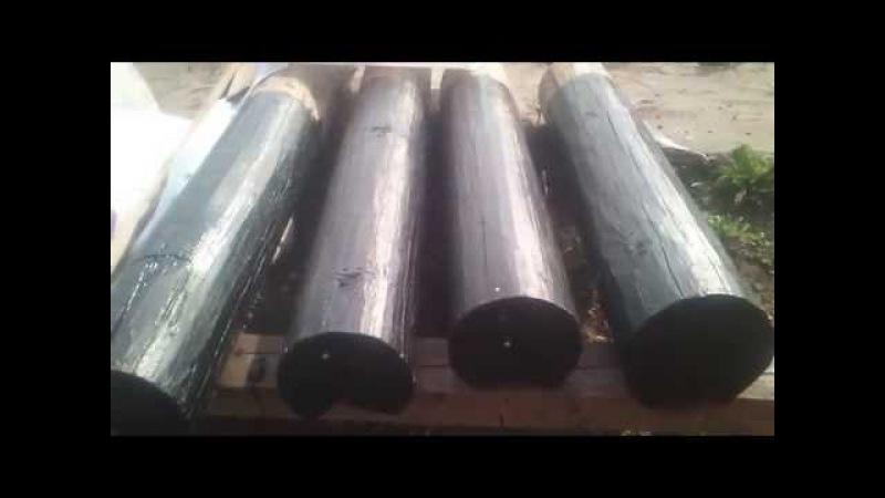 Защита дерева битумной мастикой, антисептик неомид отзыв, бревна на фундамент