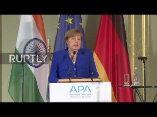 Германия: Меркель и Моди торгуют торговыми связями между Индией-ЕС в Берлине.