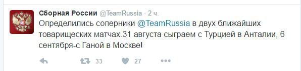 Сборная России узнала своих соперников по товарищеским матчам