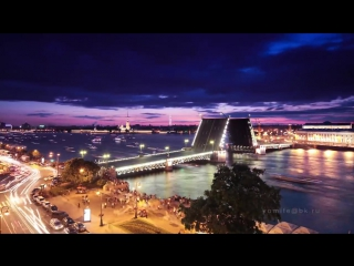 Развод мостов в Санкт-Петербурге. Timelapse