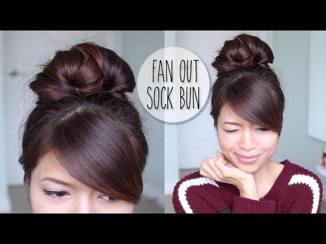 Everyday Fan Sock Bun Updo Hairstyle for Long Hair Tutorial » Freewka.com - Смотреть онлайн в хорощем качестве