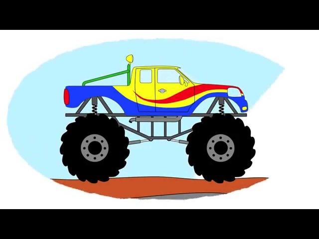 Zeichentrick-Malbuch - Monster-Truck auf der Hindernisbahn