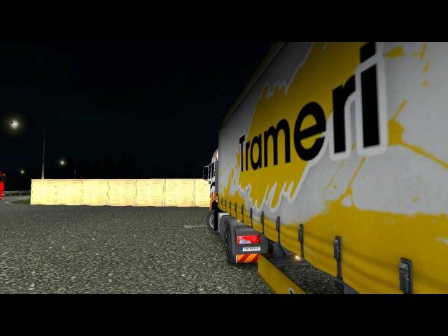 Eurotrucks2.Неожиданное видео.Конвой от компании DIMEX.Аварии