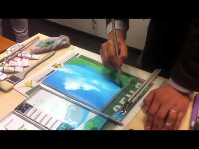Ghibli artist- Osamu Masuyama demonstrates BG art at Hebrew University, Jerusalem.