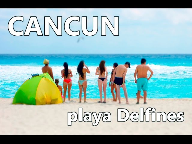 Caribbean beach. Free Cancun beach. Playa Delfines. Panoramic view. Mexico.