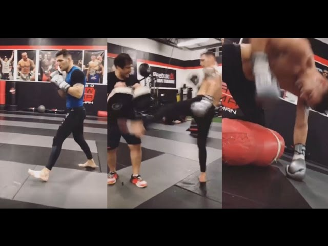 Chris Weidman Hitting Mitts and GnP