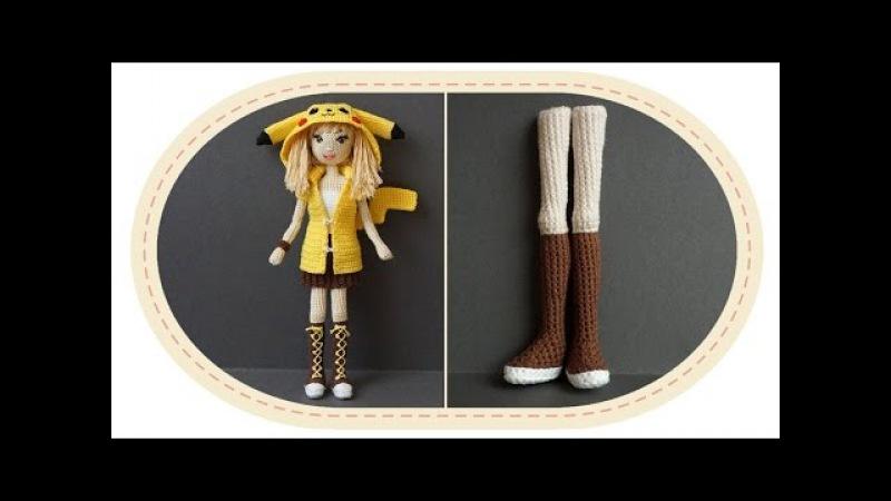 Девушка Пикачу крючком, часть 1 (Ноги, часть 1). Crochet Pikachu girl, part 1 (legs, part 1).