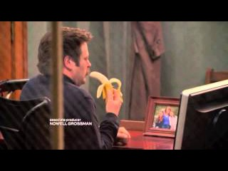 Parks and Recreation - Ron Swanson tries to eat a banana