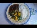 Мясо с соевым соусом и рис с овощами