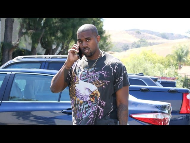 Kanye West Sports 'Feel The Wind' Bald Eagle T-Shirt At The Office
