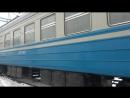 Электропоезд эр2р-7045 сообщением 6445 Харьков(Л)-Красный Лиман отправляется со станции Изюм