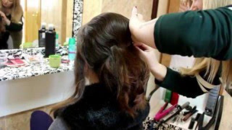 Элегантная свадебная прическа на средние волосы/Вечерняя прическа на средние в ...