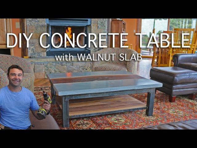 DIY Concrete Table with a Walnut Slab