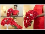 DIY Rose Bridal Cascading Bouquet Wedding Waterfall Teardrop Bouquet Chanelle Novosey