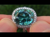 GIA Certified Natural FLAWLESS Blue Zircon &amp Diamond 14k White Gold Cocktail Ring - C311