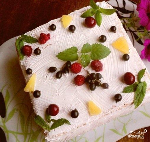Как украсить торт фруктами с пошаговым