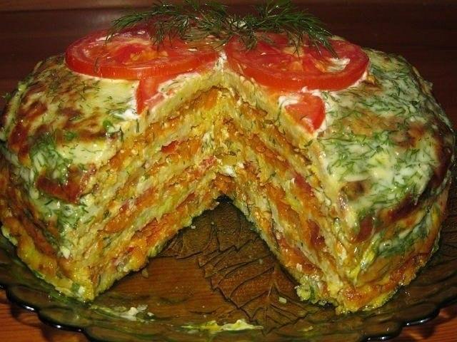 Вкуснейший тортик из кабачков. Ингредиенты: 4 – небольших кабачка 2