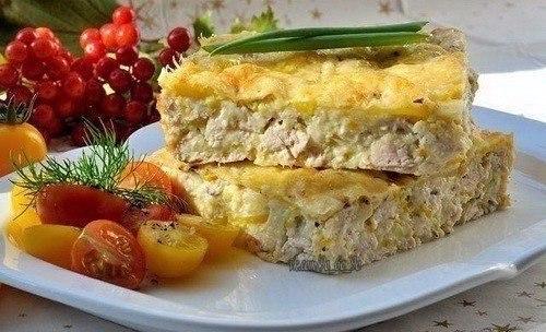 Легкий куриный пирог-запеканка Ингредиенты: - Вареное куриное филе -