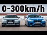 Audi RS6 vs BMW M5 vs Mercedes Benz E63 S AMG 4-Matic - Acceleration 0-300kmh &amp Exhaust Sound