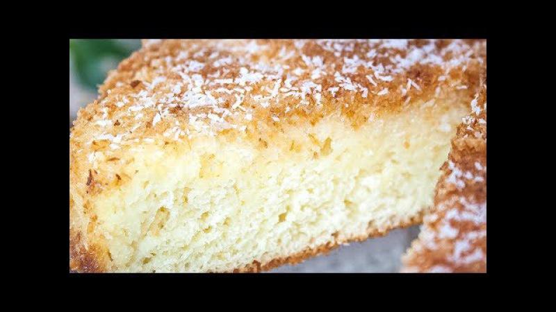 Кокосовый пирог со сливками, быстрый и очень вкусный! Простой рецепт теста на ке ...