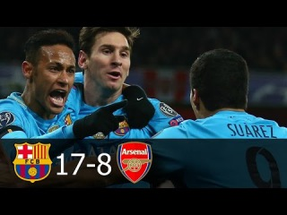 FC Barcelona vs Arsenal 17-8 All Goals in UCL 2006-2016 (English Commentary) HD 720p