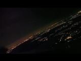 Посадка в ночной Москве. Вид из кабины пилота