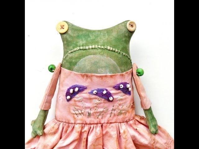 Как сшить текстильную куклу лягушку Primitive doll frog