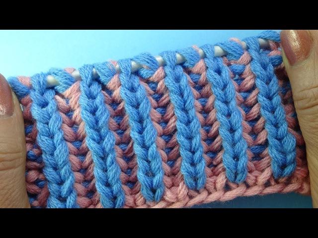 Лучшие узоры вязания Двухцветная английская резинка Узор вязания спицами 23