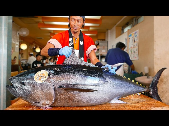 Japanese Street Food - BLUEFIN TUNA CUTTING SHOW SUSHI / SASHIMI MEAL