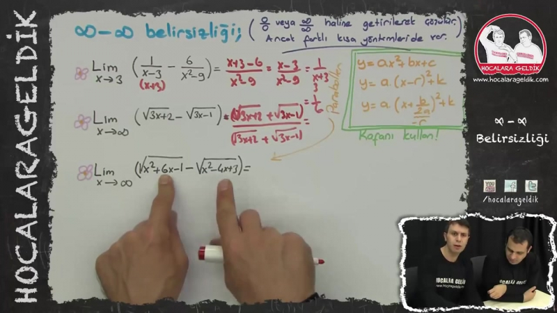 Limit - 6 (Sonsuz Eksi Sonsuz Belirsizliği) Matematik HG