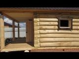 Баня из осины 4 на 5 с выносом / Баня 4 на 5 из осины с рубленой террасой 2 на 5